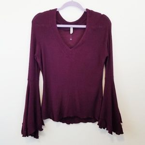 Free People Purple Bell Sleeve Knit Top Large